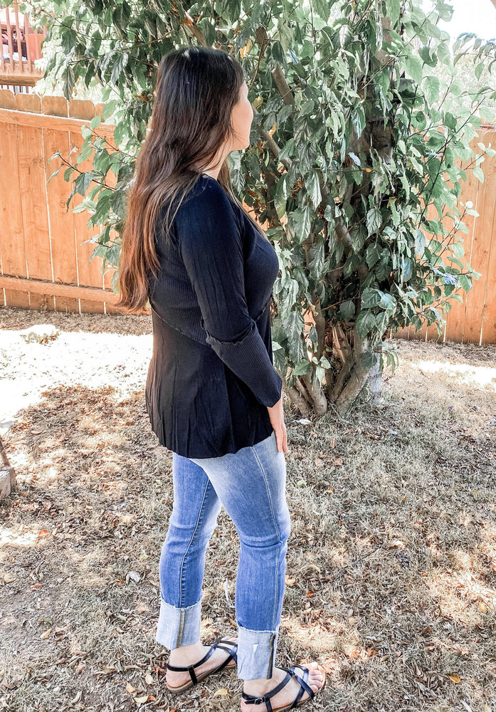 POL Run Around Long Sleeve in Black-Tops/Tunics-Kasey Leigh Boutique