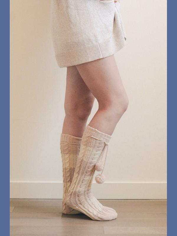 Pom Pom Striped Cable Knit Lounge Socks - Pink/White - Kasey Leigh Boutique