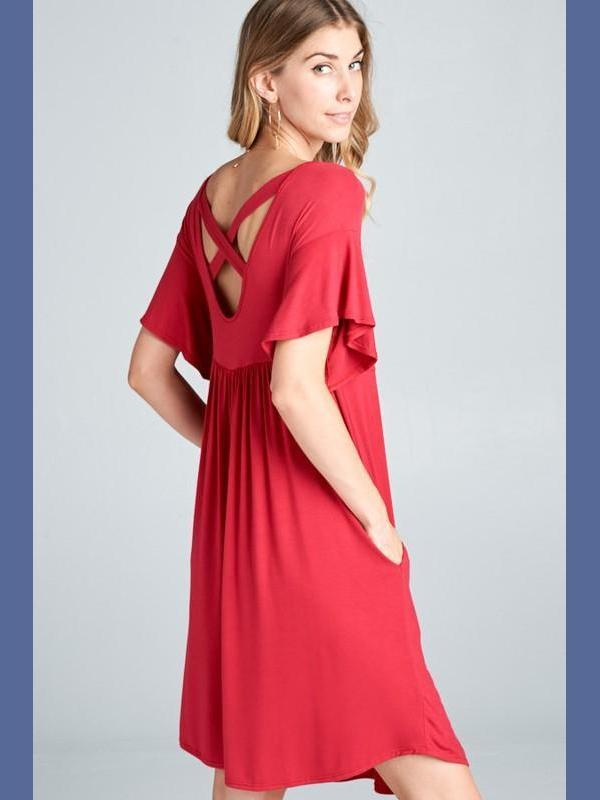 Red Criss-Cross Back Babydoll Dress-Dresses-Kasey Leigh Boutique