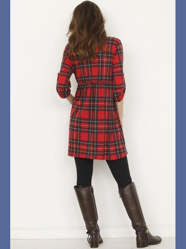 Red Plaid Tunic with Tab Button Sleeves-Tops/Tunics-Kasey Leigh Boutique