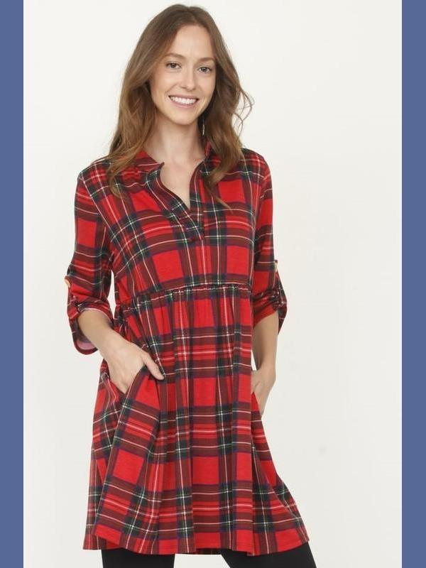 Red Plaid Tunic with Tab Button Sleeves