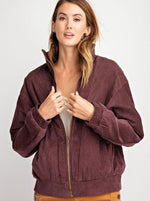 Retro Corduroy Bomber Jacket - Plum-Layers-Kasey Leigh Boutique