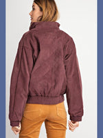 Retro Corduroy Bomber Jacket - Plum - Kasey Leigh Boutique