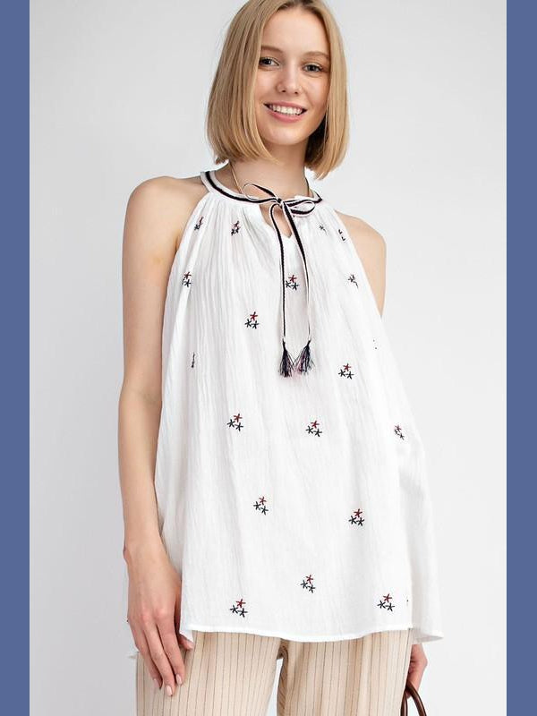 Star Embroidered Halter Tunic