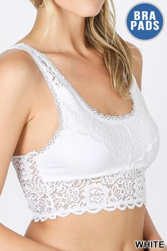Stretch Lace Bralette with V-Back - White-Accessories-Kasey Leigh Boutique