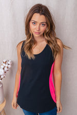 Neon Inset Tank - Black/Neon Pink Tops/Tunics - Kasey Leigh Boutique