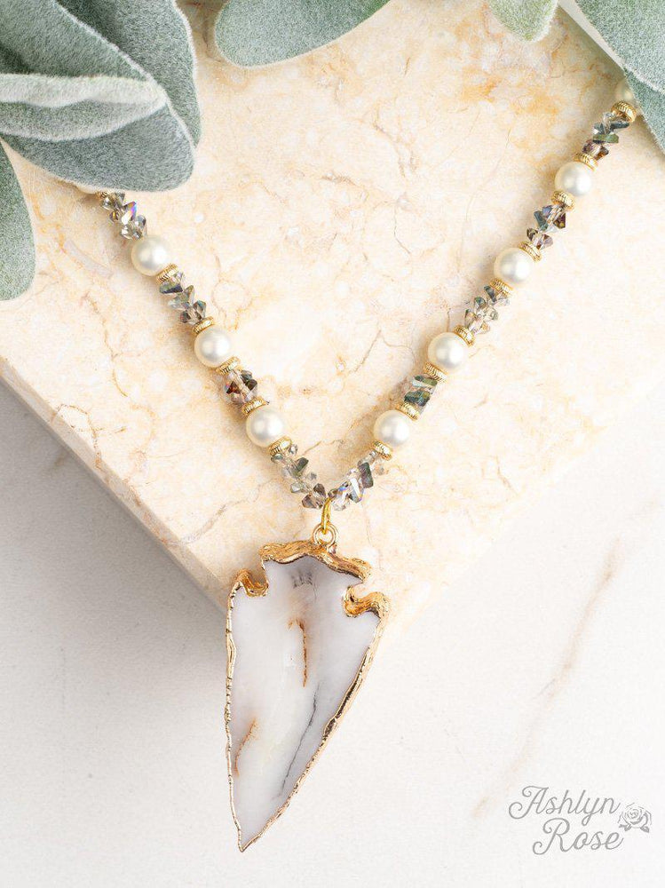 To the Point Arrow Natural Stone Pendant - Kasey Leigh Boutique