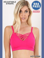 V Lattice Bralette - Hot Pink