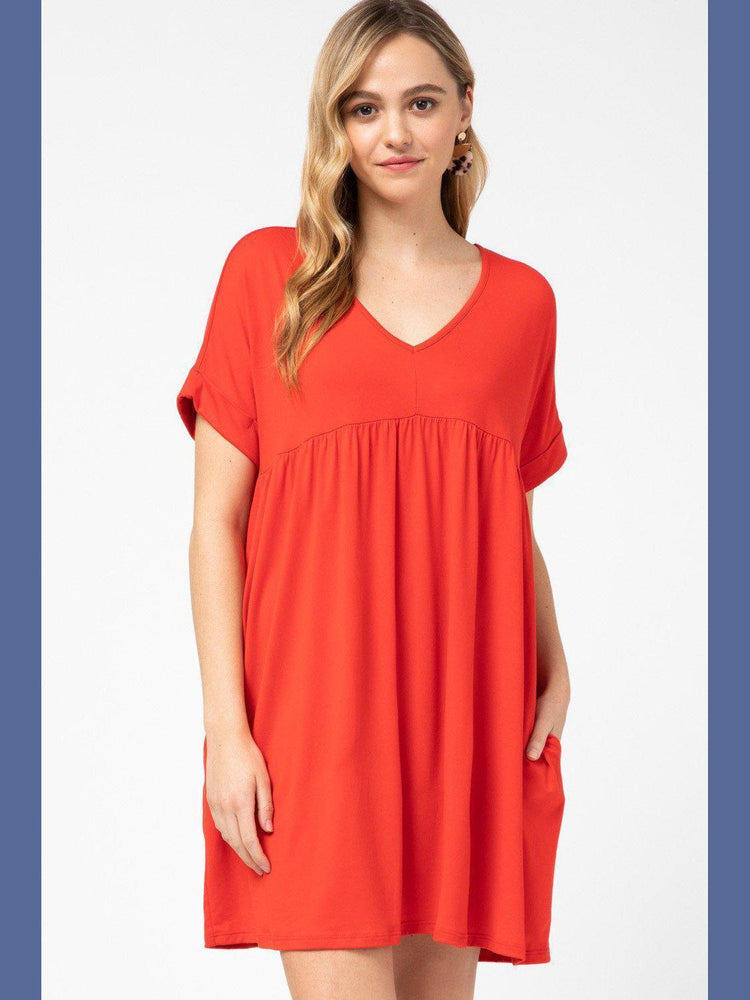 V-Neck Babydoll Dress in Tangerine Baby - Kasey Leigh Boutique