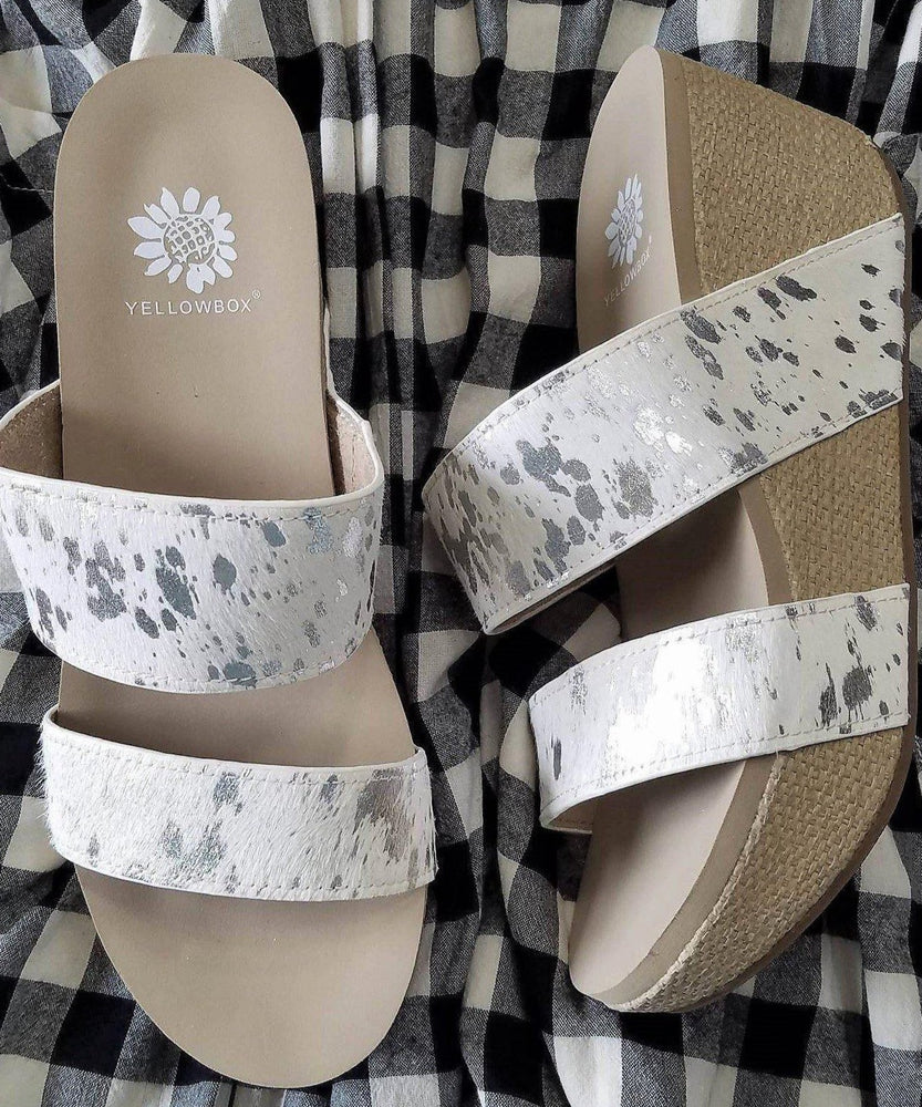 Yellow Box Bandos Wedge Sandal in White - Kasey Leigh Boutique