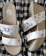 Yellow Box Bandos Wedge Sandal in White
