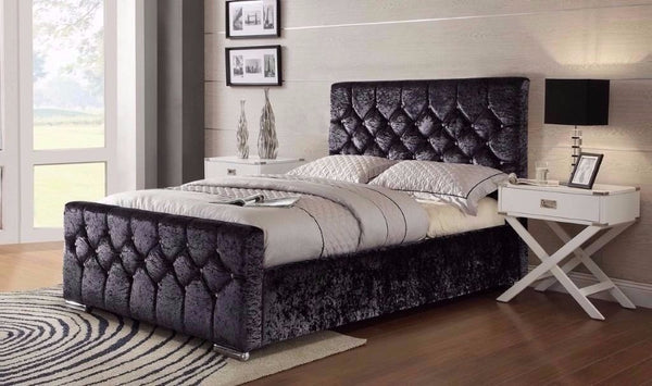 California Black Crushed Velvet Bed
