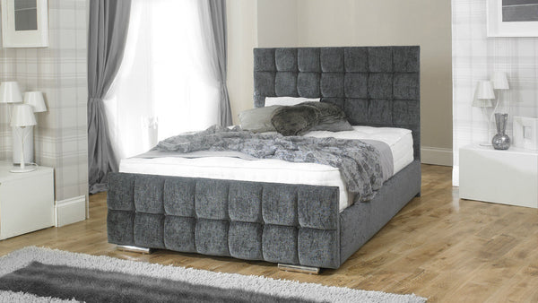 Athens Stone Grey Chenille Bed Frame