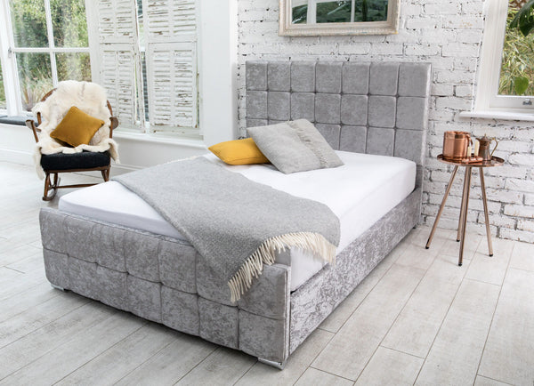 Belle Silver Cubed Crushed Velvet Bed Frame 1