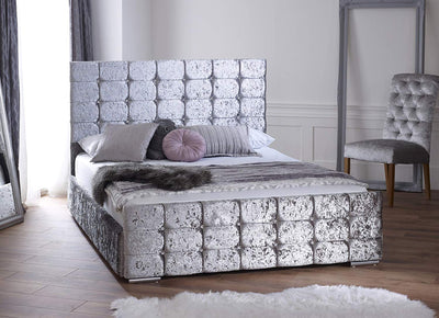 Florida Silver Crushed Velvet Bed Frame