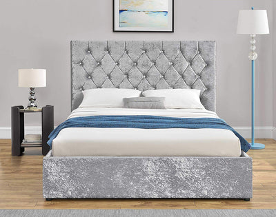 Luxury Crushed Velvet Bed Frame - Silver