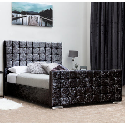 Maryland Cubed Crushed Velvet Bed Black