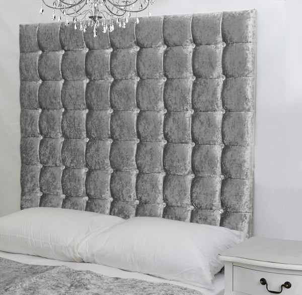 Tall High Diamante Buttoned Bed Headboard Crushed Velvet Silver