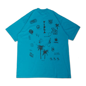 HOLLYWOOD HAND DRAWING S/S T-shirts Teal