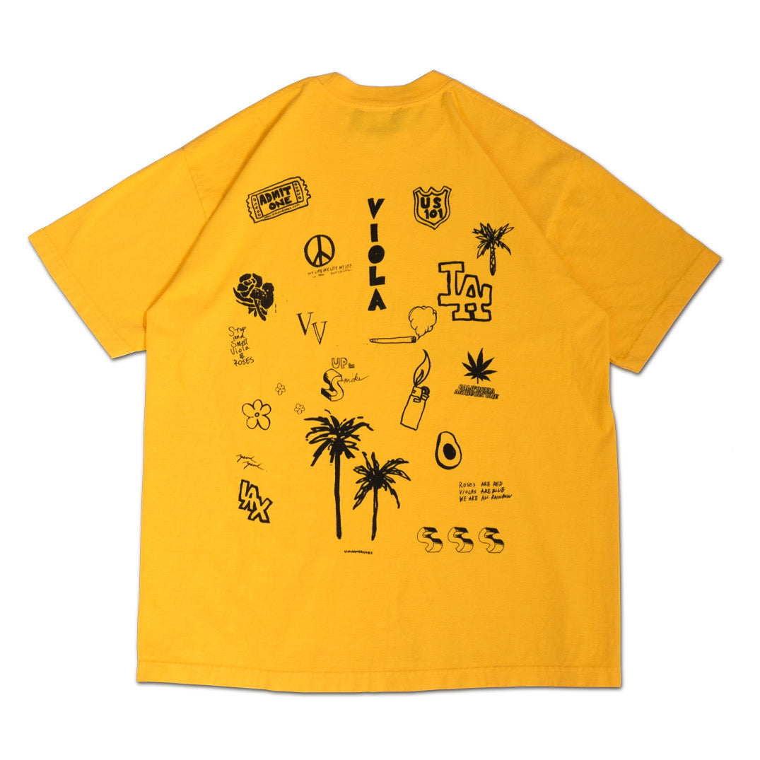HOLLYWOOD HAND DRAWING S/S T-shirts Gold