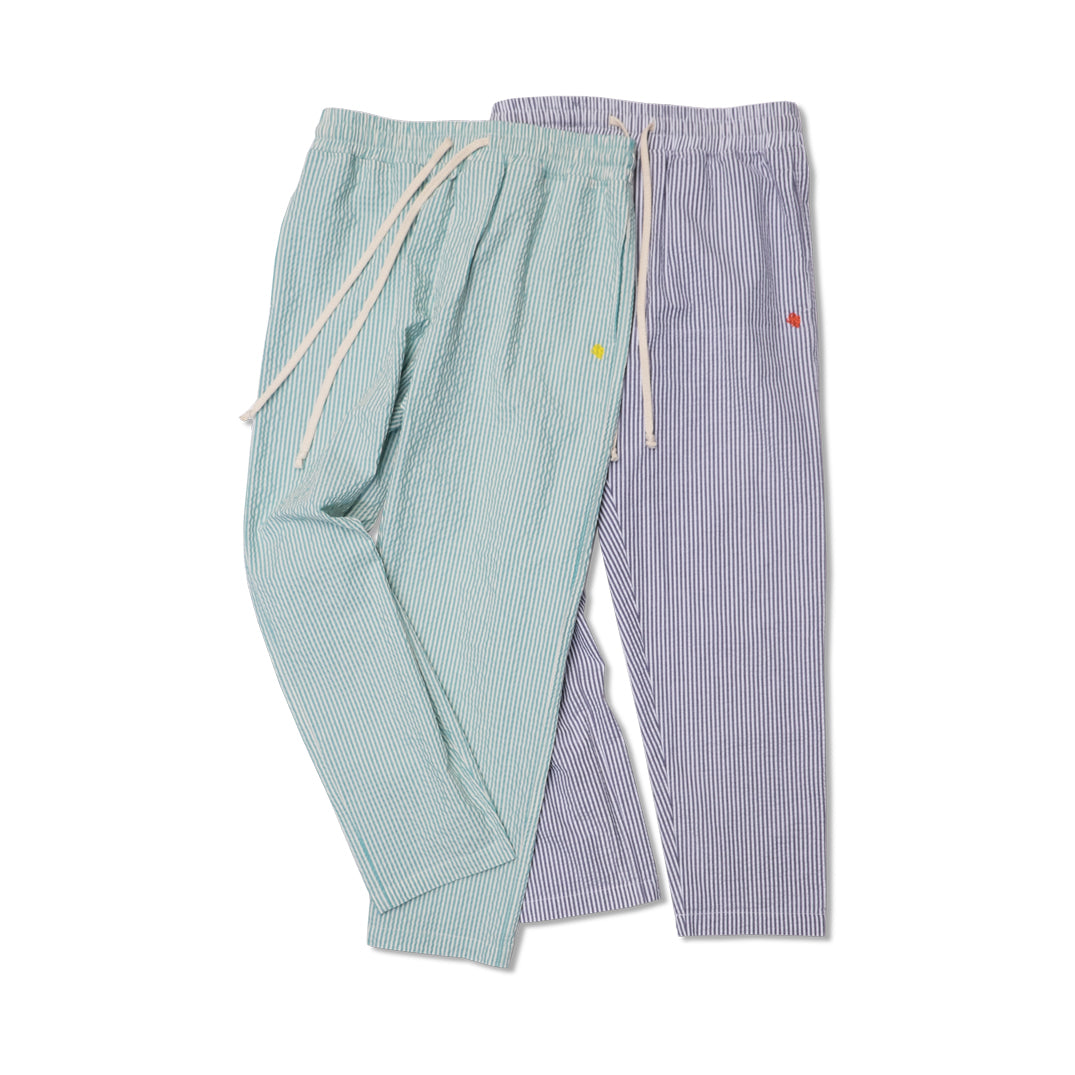 STRIPED SEERSUCKER DRAWCORD PANTS GREY