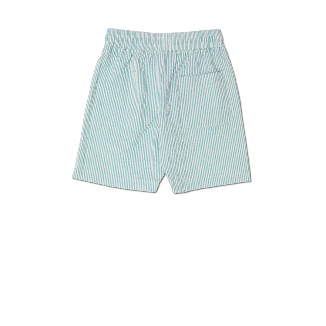 STRIPED SEERSUCKER DRAWCORD SHORTS GREY