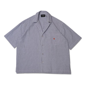 STRIPED SEERSUCKER S/S BUTTON SHIRT GREY