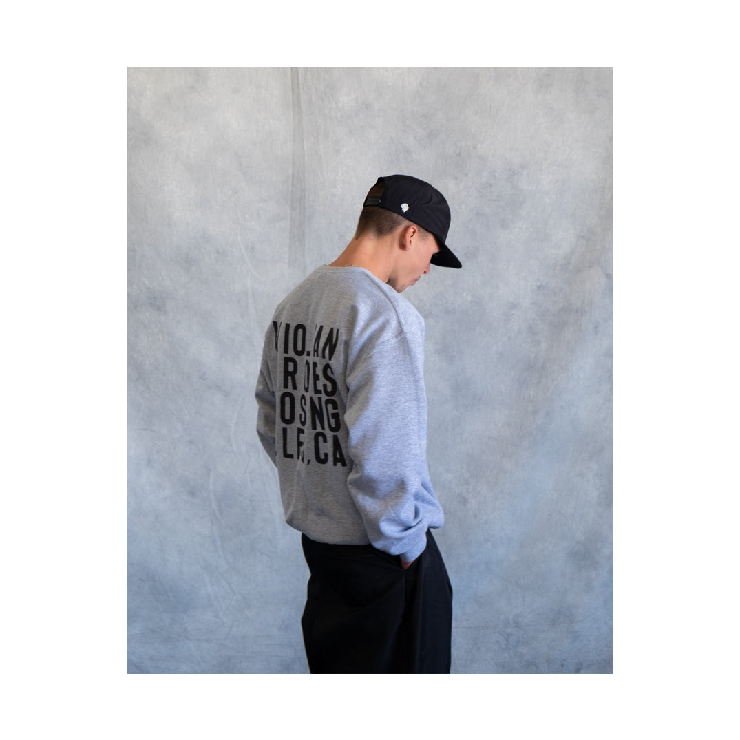BOX TYPO CREW SWEATSHIRTS GREY