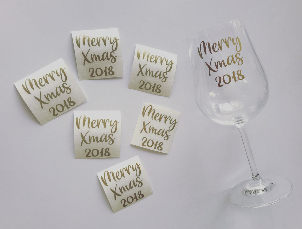 Wine Glass Decals - Christmas