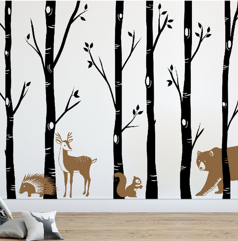 Forest Wall Decals, Birch Tree Decal DB458