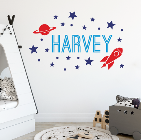 Outer Space Wall Decal, Rocket Wall Sticker DB357