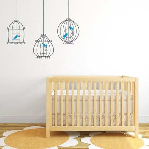 Bird Cage Wall Decal Nursery Wall Sticker Db315