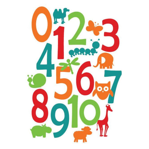 Childrens Wall Decal - Numbers And Animals Db178