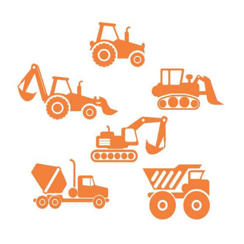 Construction Vehicles Wall Decal Sticker - Set Of 6 Db186