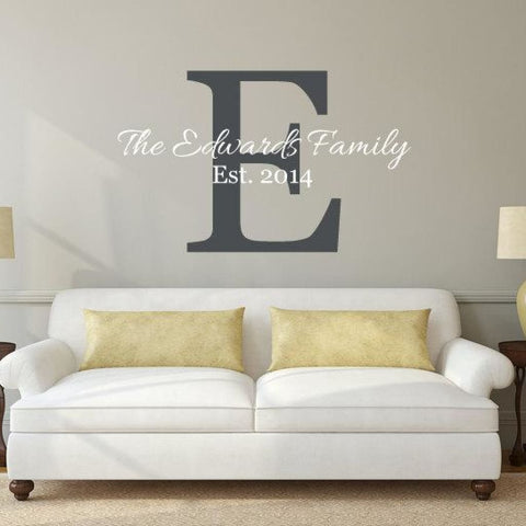Family Last Name And Initial Wall Decal Db188