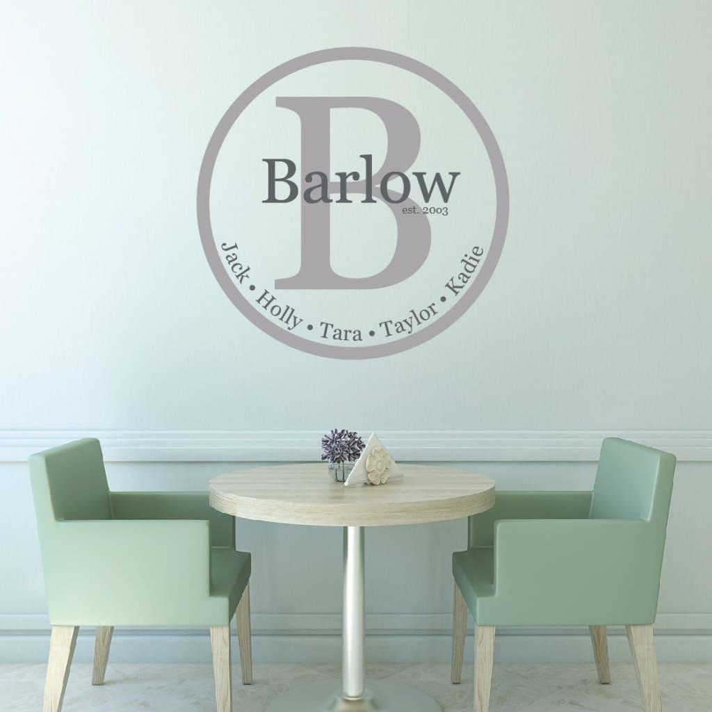 Family Name Monogram Vinyl Wall Decal Db313