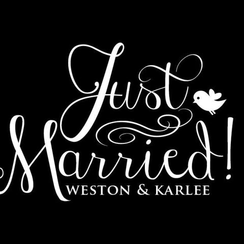 Just Married Car Window Decal With Names Db244