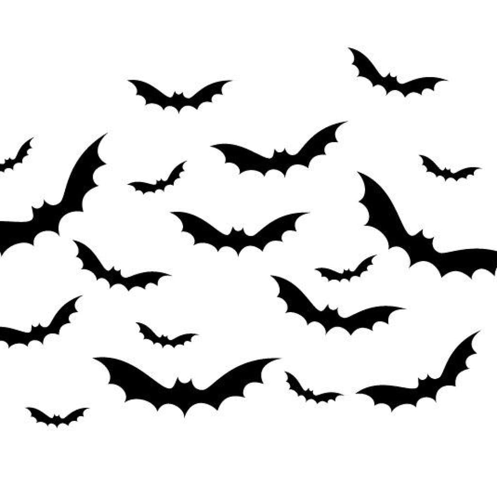 Set Of 18 Bat Wall Decals Halloween B355