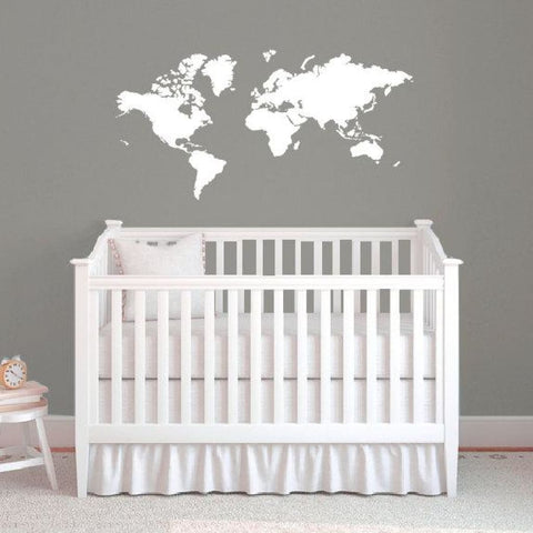 World Map Decal Wall Map B308