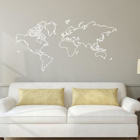 World Map Outline Decal Sticker Db374