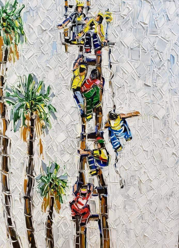 Joachim McMillan CORPORATE CLIMB  ▪18X24X2 ▪OILS  ▪︎TEXTURED ▪︎FRAMED