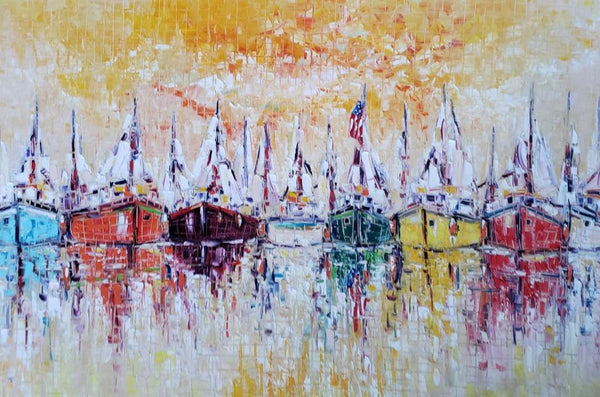 "Joachim McMillan ""FLEET HARBOR"" ▪40X60X4 ▪OILS ▪︎TEXTURED"