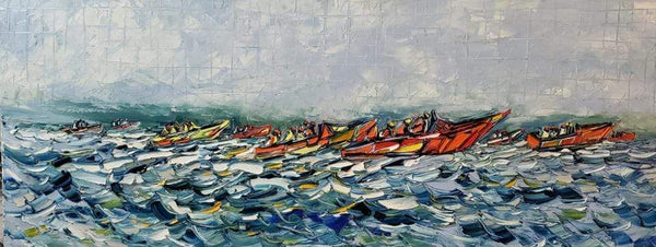 "Joachim McMillan ""SPEED BOATS""  ▪︎16X40X2  ▪OILS ▪︎TEXTURED ▪︎FRAMED"