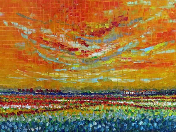 "Joachim McMillan ""SUNSET FIELDS"" ▪36X48X2 ▪OILS ▪︎TEXTURED ▪︎FRAMED"