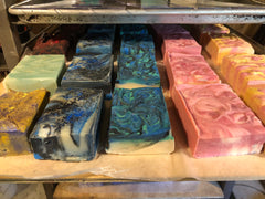 Row of soap in shelves