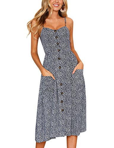 93fdfe405dec Assivia Womens Summer Floral Print Strap Casual Button Midi Dress with  Pockets (Blue