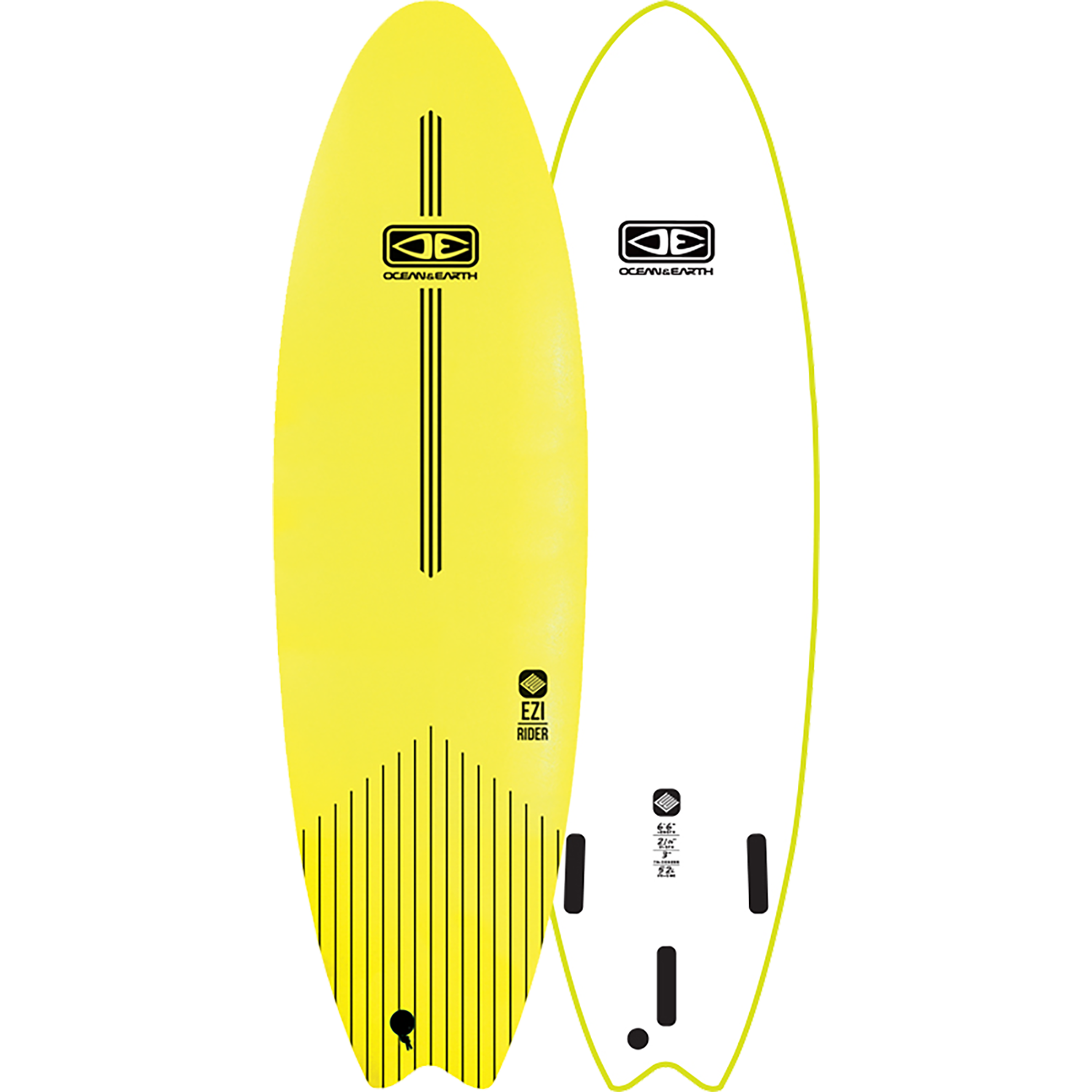 "O&E EZI-RIDER SOFTBOARD 6'6"" LIME ELECTRIC YELLOW"