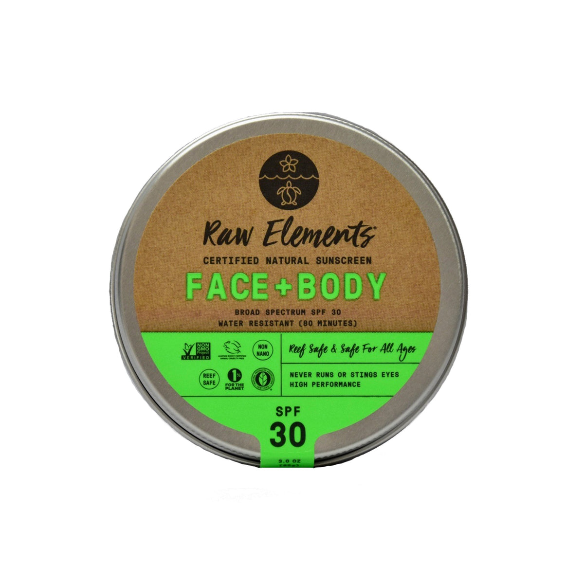 RAW ELEMENTS FACE + BODY 30+ TIN PLASTIC FREE