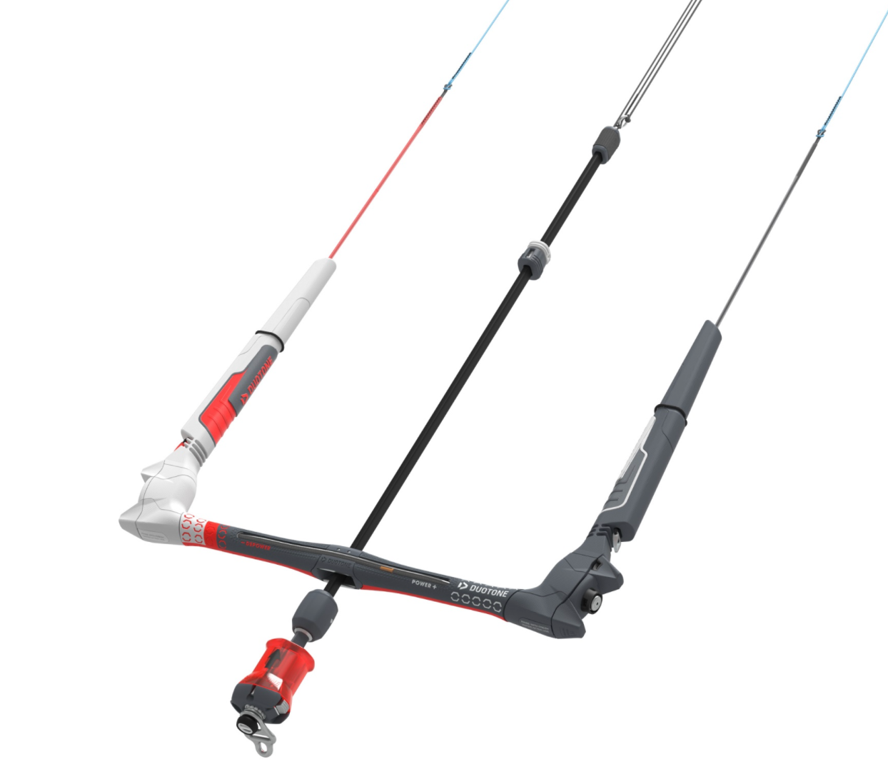 Duotone 2021 click bar with FLY99 Robline lines. The most advanced bar in kiteboarding right now. Less stretching of lines and less thickness, making them create less draft. This means better performance from light wind to strong wind.