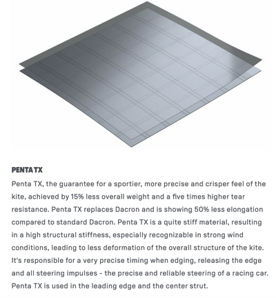 Penta TX the new material on the duotone Neo SLS frame construction. Gives you a sportier, more precise and crisper feel of the kite. 15% lighter and 5x higher tear resistance. The Penta TX replaces Dacron on all SLS kites. Penta TX is used in the leading edge and center strut.
